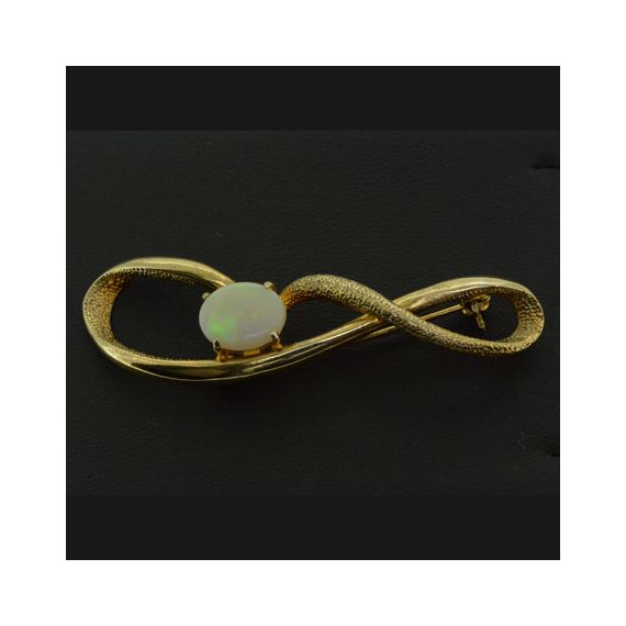 Gold Plated Sterling Silver Solid Opal Brooch