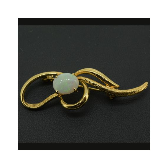 Solid Opal 10mmX8mm Brooch Set In Gold Plated Sterling Silver