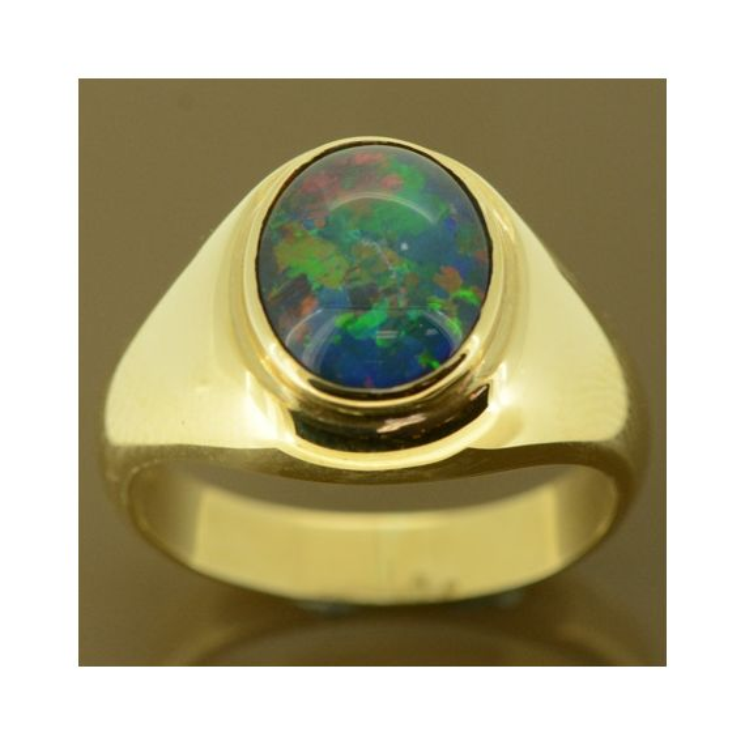 Men's triplet opal ring set in 9ct gold