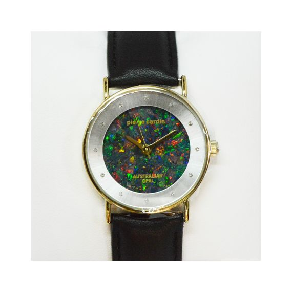 Pierre Cardin Ladies Leather Band Opal Face Watch