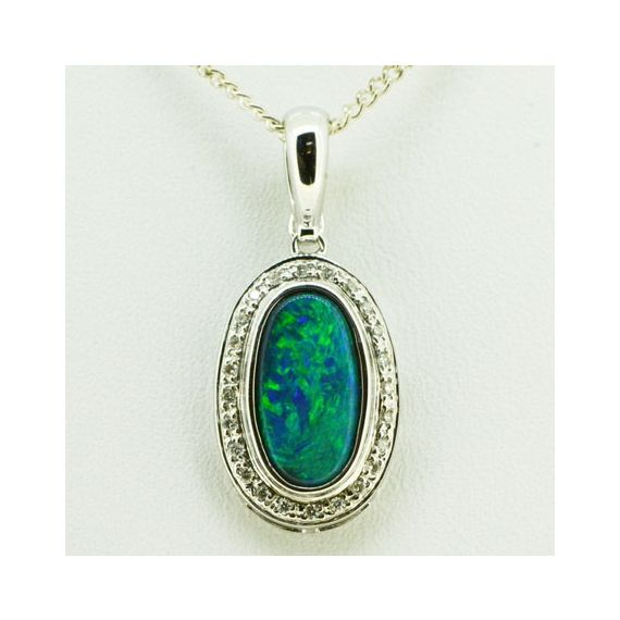 18ct White Gold Black Opal Pendant Surrounded By Diamonds