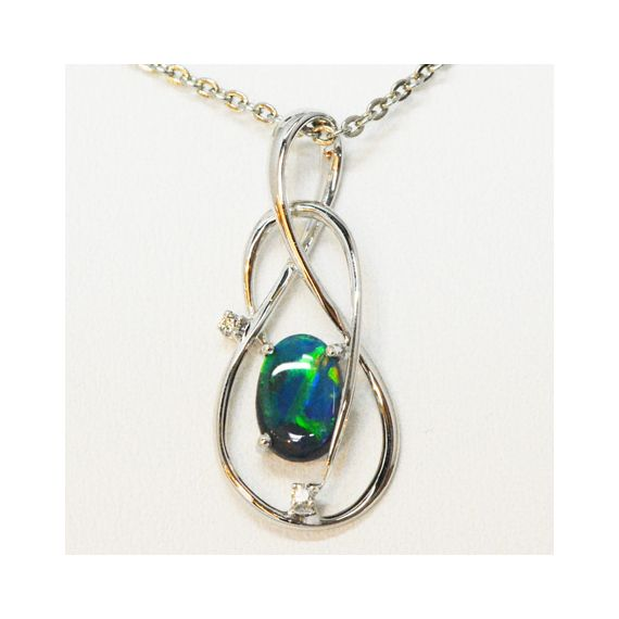 18ct White Gold Black Opal Pendant with 2 Diamonds