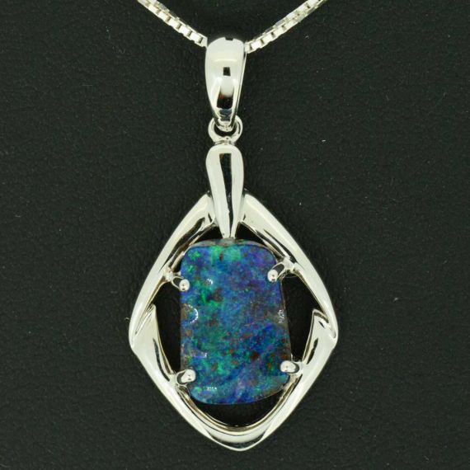 Boulder Opal Set In 14ct White Gold Pendant