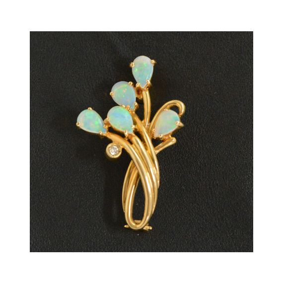 18ct Gold Solid Opal Brooch with 5 Tear Drop Opals