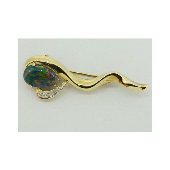 10ct Yellow Gold Triplet Opal Brooch with Diamonds