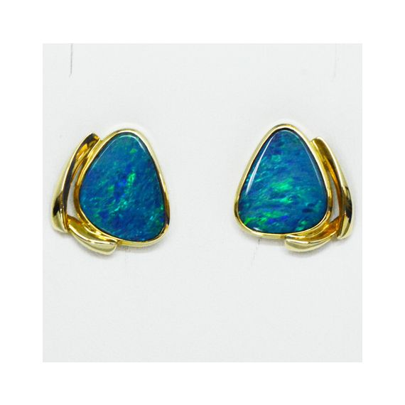 14ct Yellow Gold Doublet Opal Earrings