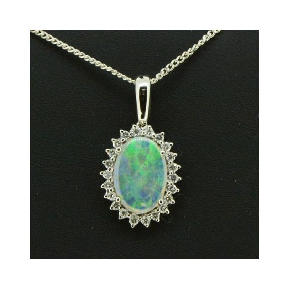 18ct White Gold Solid Opal Pendant Surrounded by Diamonds