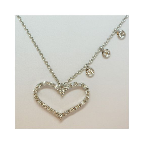 14ct white gold HEART diamond necklace