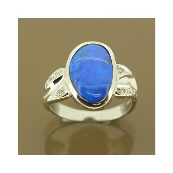 14ct white gold irregular shaped doublet opal ring with diamonds