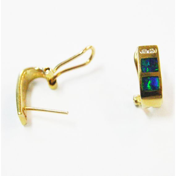 14ct yellow gold clip inlaid opal earrings