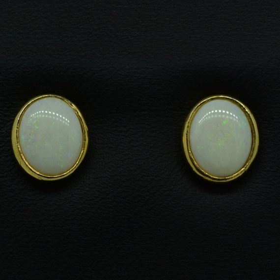 Gold Plated Solid Opal Rubbed in Earrings
