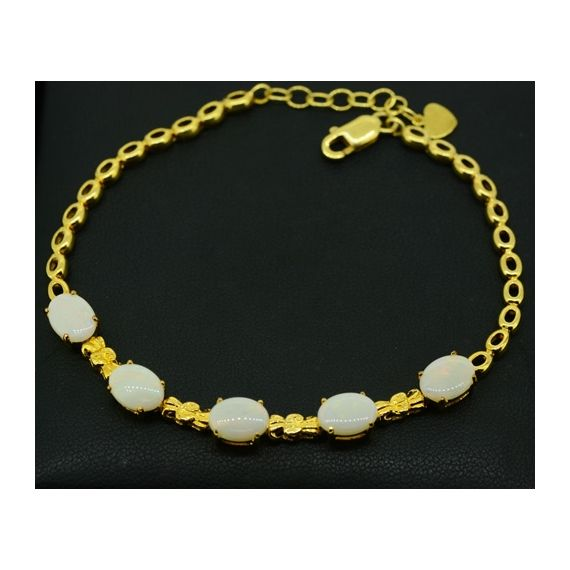 Gold Plated Sterling Silver Solid Opal Bracelet With 5 Stones