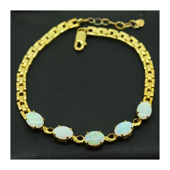 Sterling Silver Gold Plated Solid Opal Bracelet