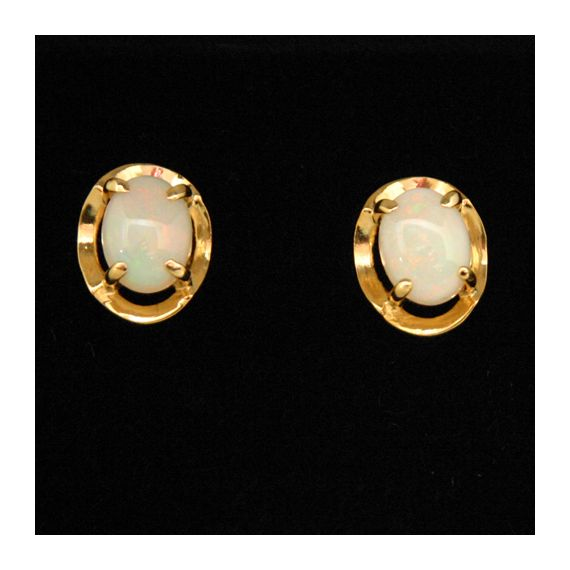 Gold plated Sterling Silver Claw Set Solid Opal Earrings