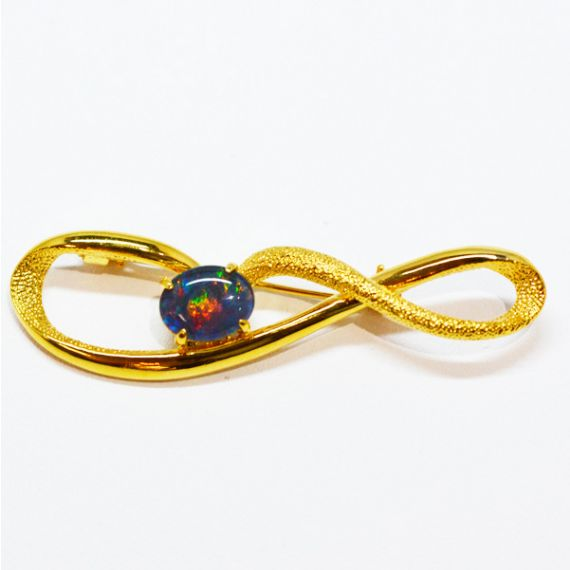 Gold Plated Sterling Silver Claw Set Triplet Opal Brooch