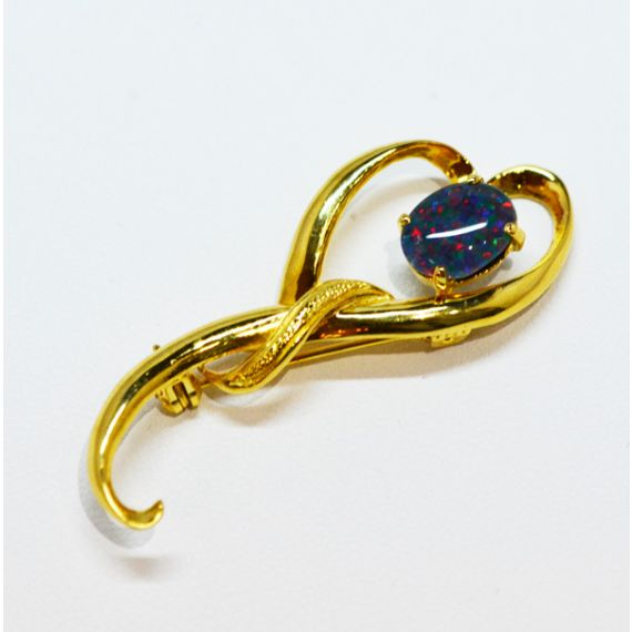 Gold Plated Sterling Silver Triplet Opal Brooch