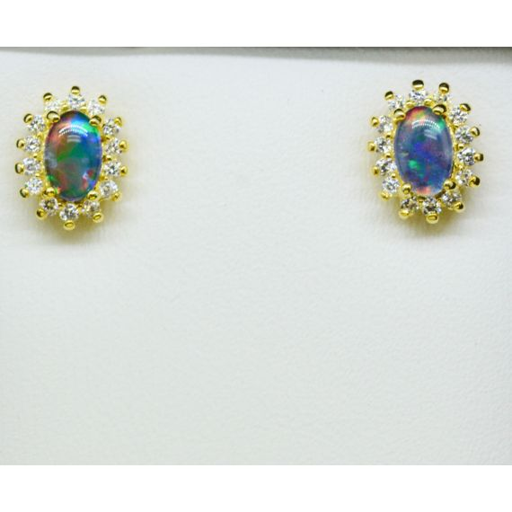 Gold Plated Sterling Silver Triplet Opal Earrings Surrounded By Crystals