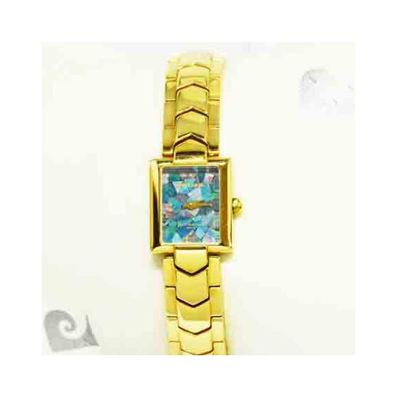 Pierre Cardin Ladies Rectangular Gold Plated Opal Face Watches