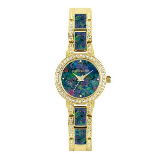 Pierre Cardin Ladies Gold Plated Opal Face Watch with opals in the bracelet