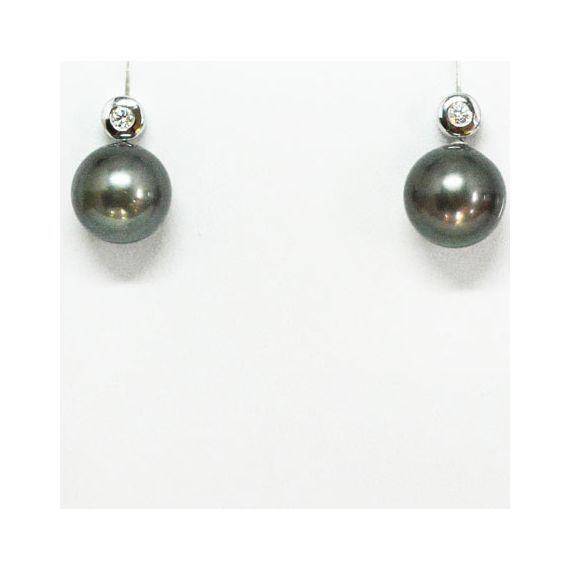 9ct White Gold Black South Sea Pearl Stud Earrings With Diamonds
