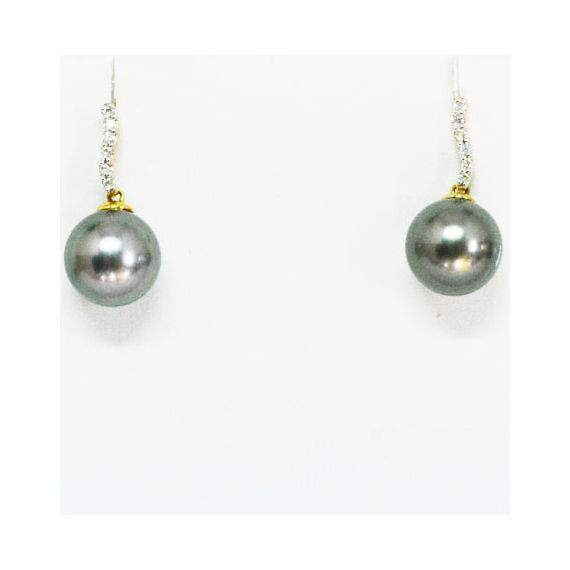 18ct Yellow Gold Black South Sea Pearl Earrings With Diamonds