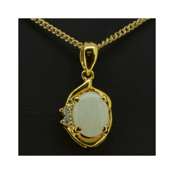 Gold Plated Sterling Silver Solid Opal Pendant Set With Two Cut Crystals