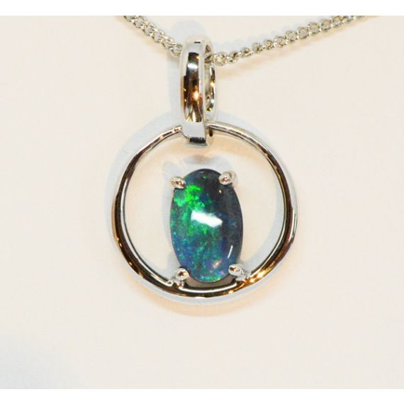 Sterling Silver Black Opal Claw Set Pendant