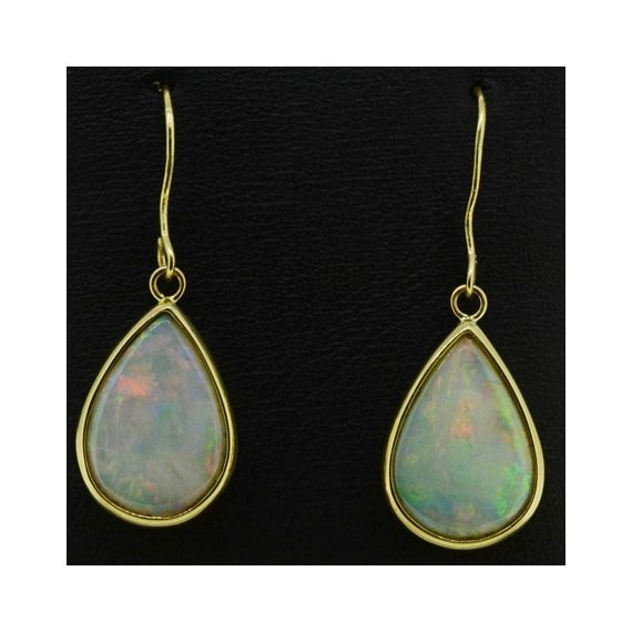 9ct Yellow Gold Solid Tear Shaped Opal Earrings