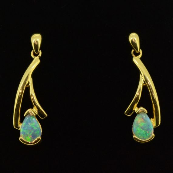 18ct yellow gold crystal opal earrings
