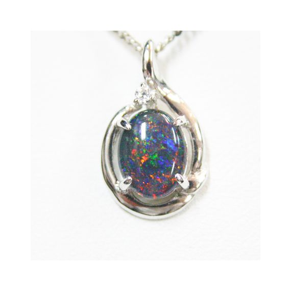 Sterling Silver Triplet Opal with One Crystal Pendant