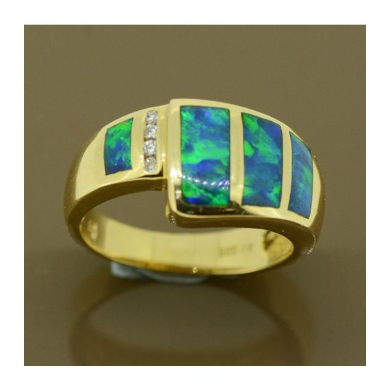 14ct yellow gold inlaid opal ring