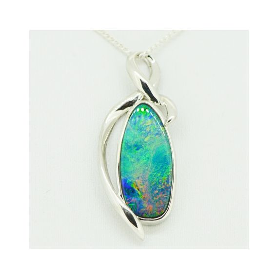 free shaped doublet opal pendant set in sterling silver