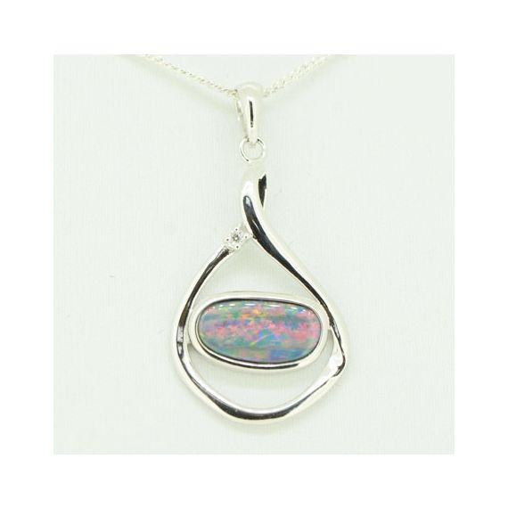 Irregular shaped doublet opal set in sterling silver