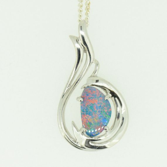 Sterling silver free shaped doublet opal pendant (11mmx7mm)