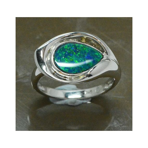 Sterling Silver Doublet Opal Ring
