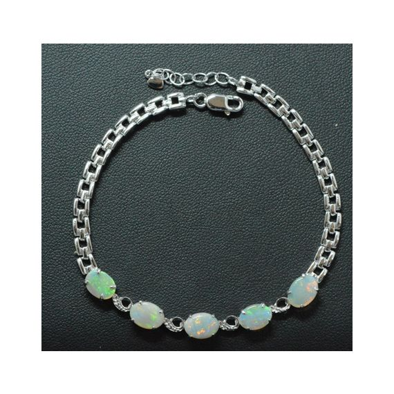 Claw Set Sterling Silver Solid Opal Bracelet