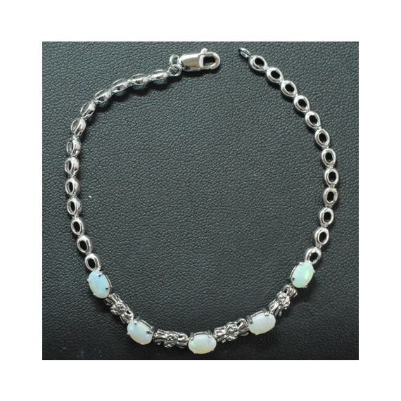 Sterling Silver Claw Set Solid Opal Bracelet, With 5 Opals