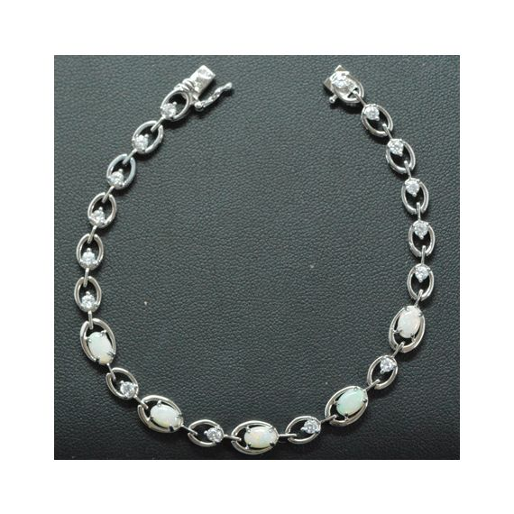 Claw Set Sterling Silver Solid Opal Bracelet, with 5 Solid Opals