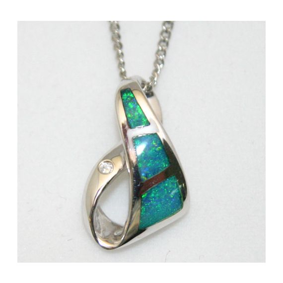 three panel sterling silver inlaid opal pendant
