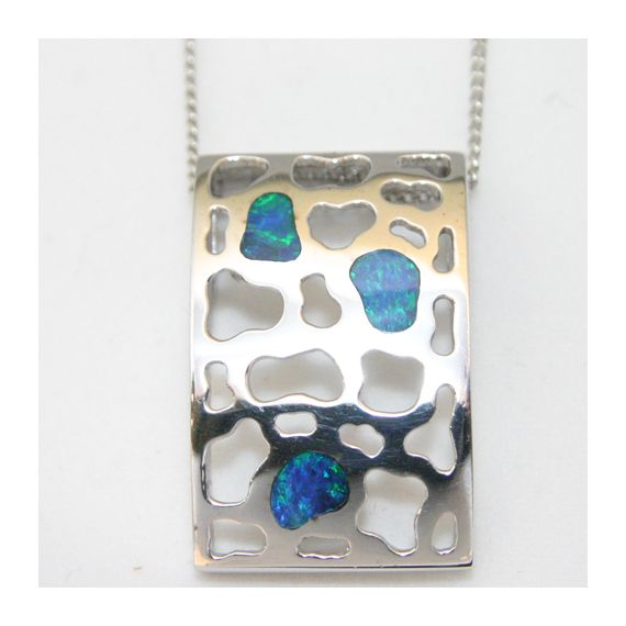 sterling silver inlaid abstract pattern opal pendant