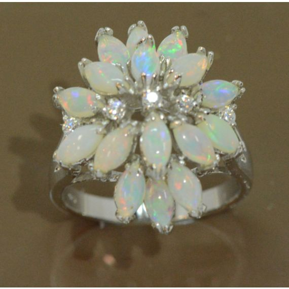 Ladies Sterling Silver Multi Stone Solid Opal Ring