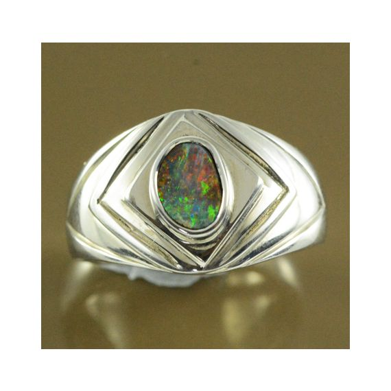 Sterling Silver Solid Boulder Opal Ring