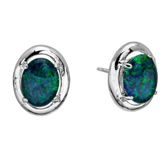 Sterling Silver Claw Set Triplet Opal Earrings