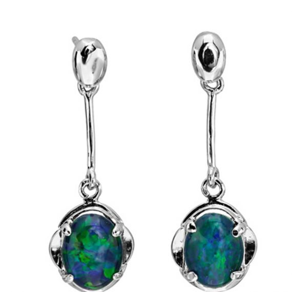 Sterling Silver Triplet Opal Drop Earrings