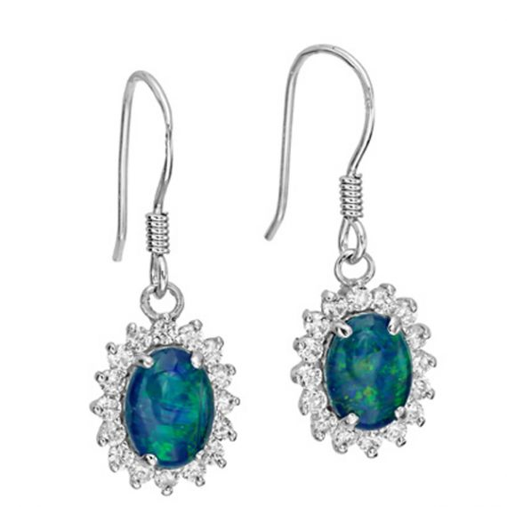 Sterling Silver Hanging Triplet Opal Earrings Surrounded by Crystals