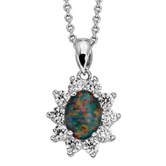 Triplet Opal Pendant Set In Sterling Silver Surrounded By Crystals