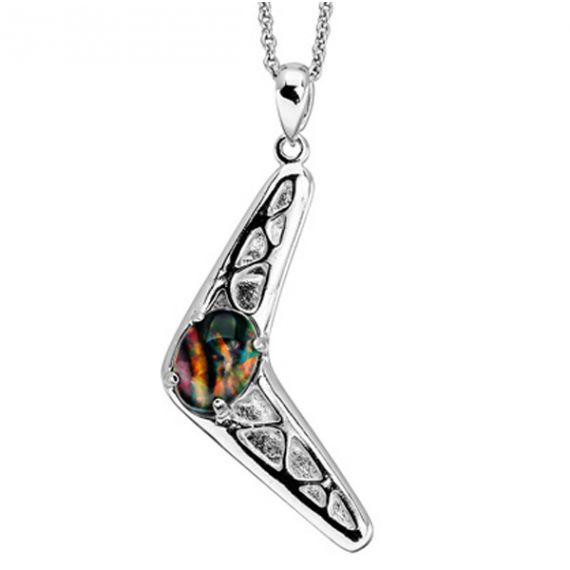 Sterling Silver Boomerang Shaped Opal Pendant