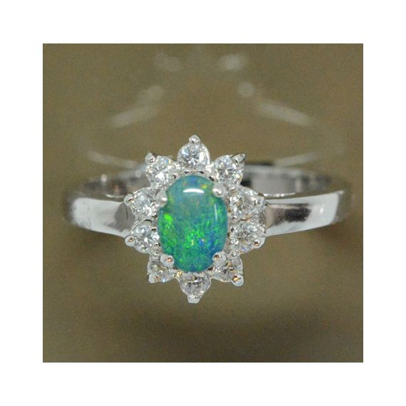 Ladies Sterling Silver Triplet Opal Ring Surrounded by Crystals