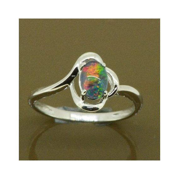 4 CLAW STERLING SILVER TRIPLET OPAL RING