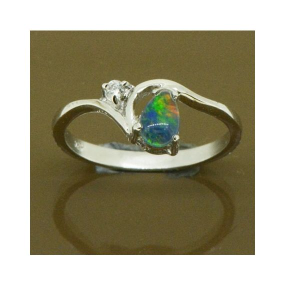 STERLING SILVER TEAR DROP SHAPED TRIPLET OPAL RING